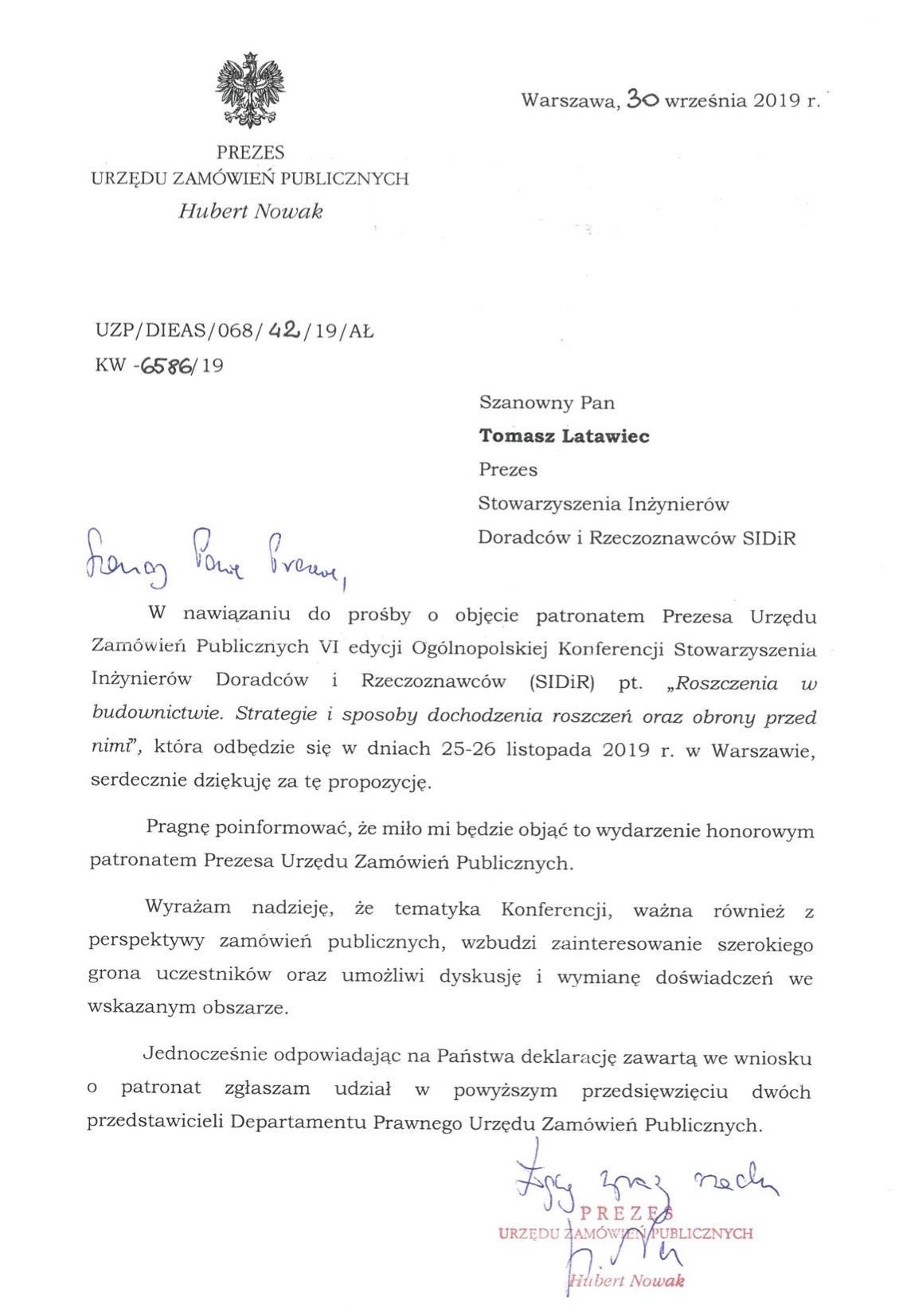 Prezes Urzędu Zamówień Publicznych obejmuje patronat nad Konferencją Roszczenia wbudownictwie